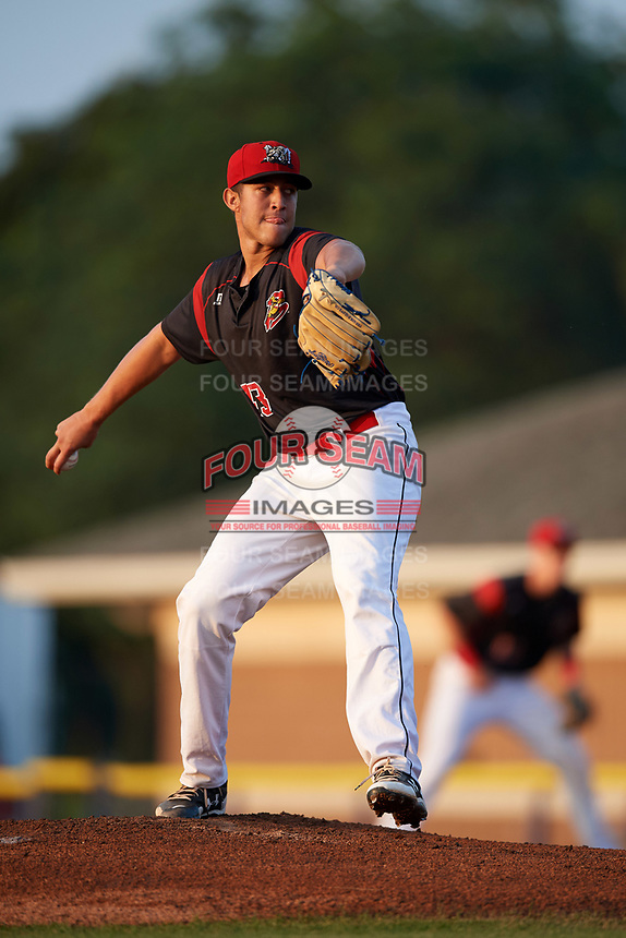 Batavia Muckdogs starting pitcher Osman Gutierrez (43) delivers a pitch during a game against the Mahoning Valley Scrappers on August 30, 2017 at Dwyer Stadium in Batavia, New York.  Batavia defeated Mahoning Valley 5-1.  (Mike Janes/Four Seam Images)