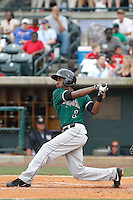 Augusta GreenJackets infielder Travois Relaford (1) at bat during a game against the Charleston Riverdogs at Joseph P.Riley Jr. Ballpark on April 15, 2015 in Charleston, South Carolina. Charleston defeated Augusta 8-0. (Robert Gurganus/Four Seam Images)