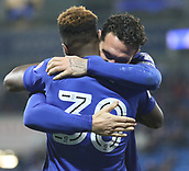 31st October 2017, Cardiff City Stadium, Cardiff, Wales; EFL Championship football, Cardiff City versus Ipswich Town; Sean Morrison (C) and Omar Bogle of Cardiff City celebrate the 2nd goal early in the 2nd half
