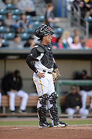 ***Temporary Unedited Reference File***Jacksonville Suns catcher Francisco Arcia (28) during a game against the Mobile BayBears on April 18, 2016 at The Baseball Grounds in Jacksonville, Florida.  Mobile defeated Jacksonville 11-6.  (Mike Janes/Four Seam Images)