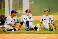(L-R) Branden Kline #16 (Virginia), Corey Knebel #11 (Texas) and Mark Appel #28 (Stanford) watch the action from the bullpen during the game against the Gastonia Grizzlies at Sims Legion Park on June 30, 2011 in Gastonia, North Carolina.  Team USA defeated the Grizzlies 12-5.  Brian Westerholt / Four Seam Images