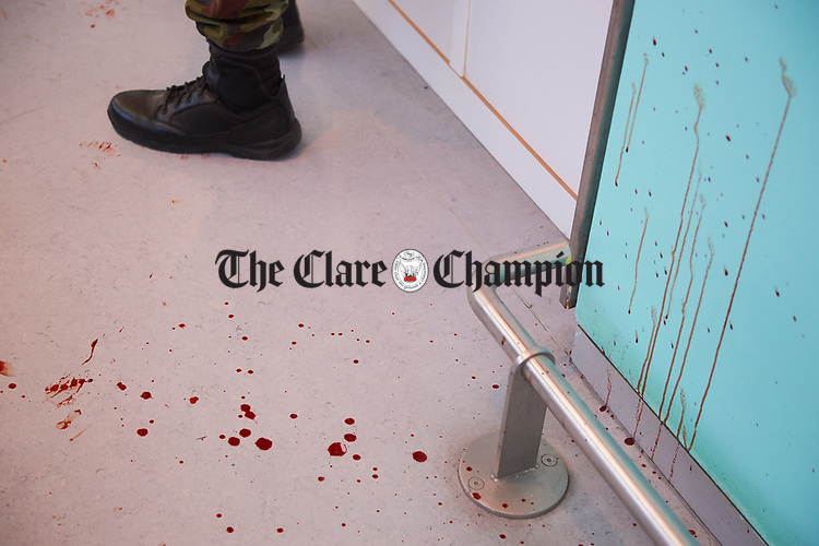 Fake blood stains in the terminal building following a bilateral training exercise between An Garda Siochana and the Defence Forces hosted at Shannon Airport. Photograph by John Kelly.