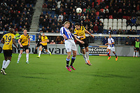 VOETBAL: HEERENVEEN: Abe Lenstra Stadion 04-04-2015, SC Heerenveen - NAC, uitslag 0-0, Henk Veerman (#20) kopduel, ©foto Martin de Jong