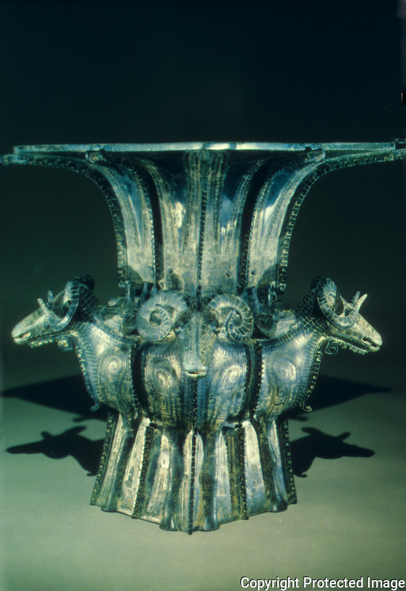 China:  Square wine vessel (fang zun).  Shang dynasty, 13th -11th C.  B.C.  23' bronze. Historical Museum, Beijing.  Great Bronze Age of China, exhibition.