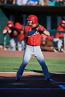 Francisco Del Valle (23) of the Orem Owlz bats against the Ogden Raptors at Lindquist Field on June 19, 2018 in Ogden, Utah. The Raptors defeated the Owlz 7-2. (Stephen Smith/Four Seam Images)