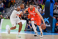 Real Madrid's Dontaye Draper and Valencia Basket's Antoine Diot during Quarter Finals match of 2017 King's Cup at Fernando Buesa Arena in Vitoria, Spain. February 19, 2017. (ALTERPHOTOS/BorjaB.Hojas)