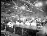 """Frederick Stone negative. New England Watch Co., 1905, """"Center"""" Finishing Room. <br />Number one Miss J. Holmes, two Miss Merylander, four Miss Dechene, five Miss Henzie."""