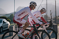 Michal Golas (POL/SKY) &amp; Michal Kwiatkowski (POL/SKY) on their way to the start<br /> <br /> MEN ELITE ROAD RACE<br /> Kufstein to Innsbruck: 258.5 km<br /> <br /> UCI 2018 Road World Championships<br /> Innsbruck - Tirol / Austria