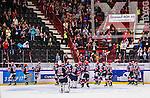 S&ouml;dert&auml;lje 2014-09-22 Ishockey Hockeyallsvenskan S&ouml;dert&auml;lje SK - IF Bj&ouml;rkl&ouml;ven :  <br /> S&ouml;dert&auml;ljes spelare jublar med S&ouml;dert&auml;ljes supportrar efter matchen<br /> (Foto: Kenta J&ouml;nsson) Nyckelord: Axa Sports Center Hockey Ishockey S&ouml;dert&auml;lje SK SSK Bj&ouml;rkl&ouml;ven L&ouml;ven IFB jubel gl&auml;dje lycka glad happy supporter fans publik supporters