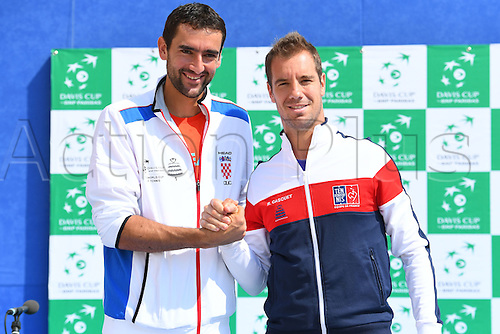 15.09.2016. Zadar, Croatia. Davis Cup tennis. Croatia versus France, meeting and training.  Richard Gasquet and Marin Cilic
