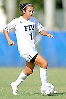2 October 2011:  FIU's Kim Lopez (7) moves the ball upfield in the second half as the FIU Golden Panthers defeated the University of South Alabama Jaguars, 2-0, at University Park Stadium in Miami, Florida.