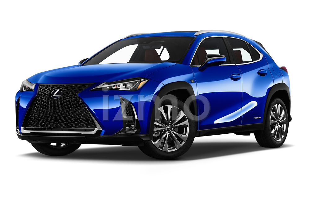 Stock pictures of low aggressive front three quarter view of a 2019 Lexus UX 250h-F-SPORT 5 Door SUV