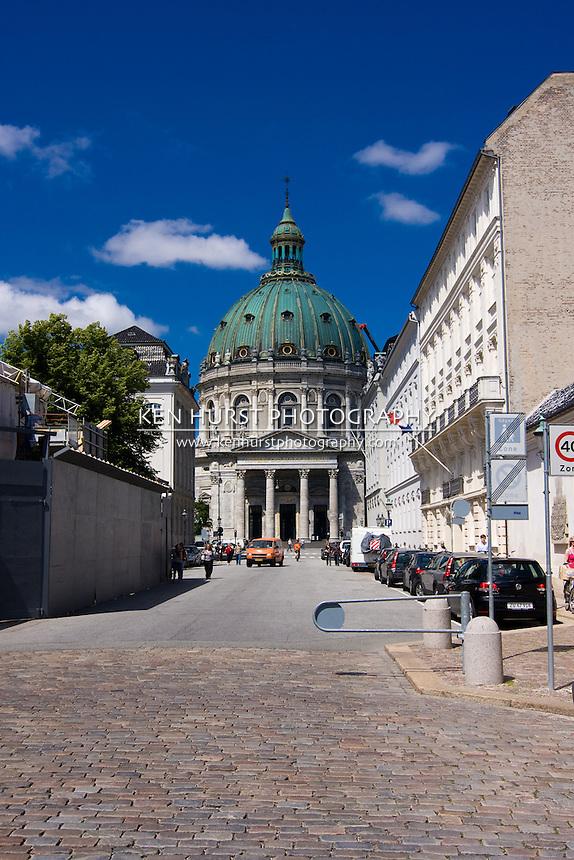 View of Marmokirke (Mable Church) from Frederiksgade street in Copenhagen, Denmark.