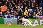 Real Madrid's Sergio Ramos and Real Sociedad's Mikel Oyarzabal during La Liga match between Real Madrid and Real Sociedad at Santiago Bernabeu Stadium in Madrid, Spain. January 29, 2017. (ALTERPHOTOS/BorjaB.Hojas)