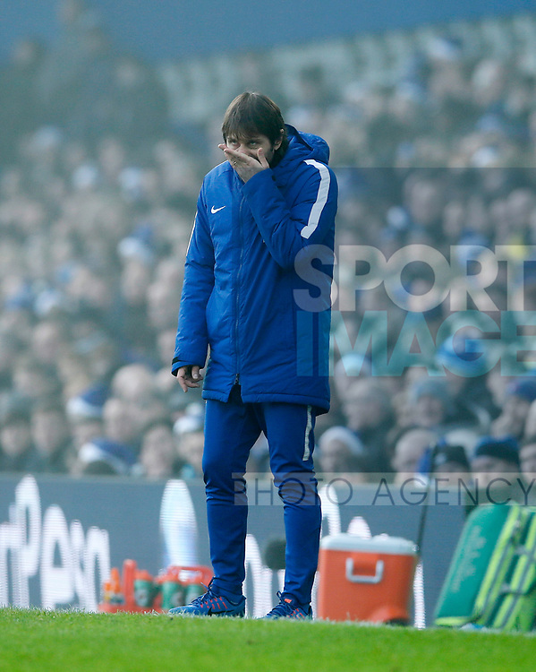 Chelsea's Antonio Conte in action during the premier league match at Goodison Park Stadium, Liverpool. Picture date 23nd December 2017. Picture credit should read: David Klein/Sportimage