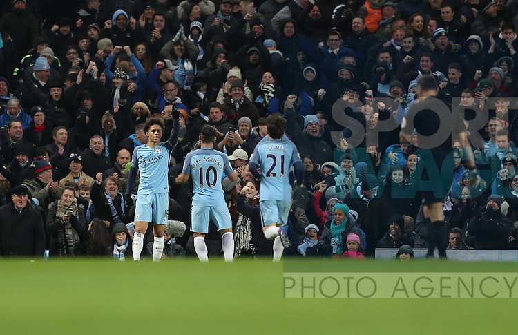 Leroy Sane of Manchester City celebrates scoring during the Premier League match at Etihad Stadium, Manchester. Picture date: January 21st, 2017.Photo credit should read: Lynne Cameron/Sportimage
