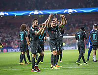 Players of Chelsea celebrating during the UEFA Champions League group C match between Atletico Madrid and Chelsea played at the Wanda Metropolitano Stadium in Madrid, on September 27th 2017.