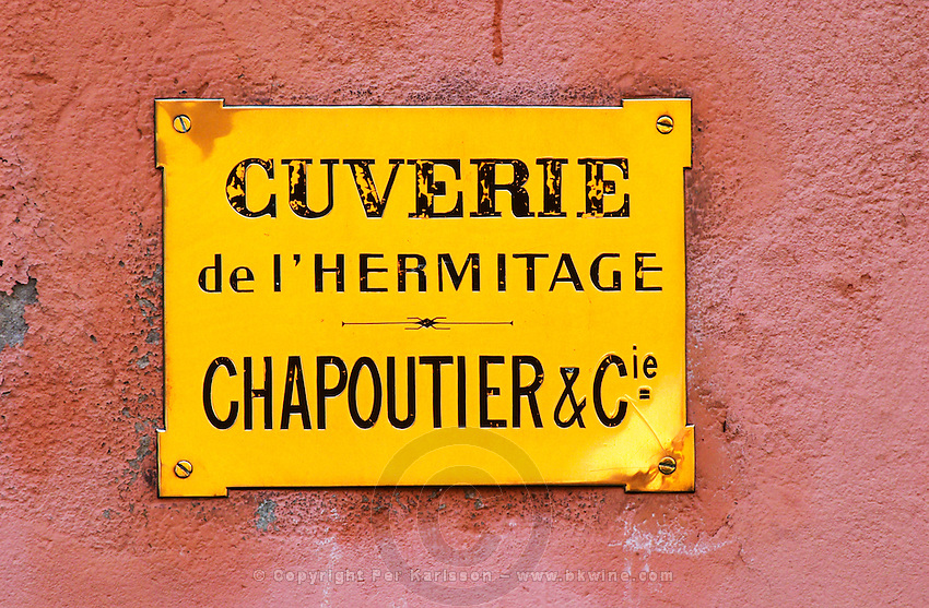 A sign to the winery of M Chapoutier, Cuverie de l'Hermitage in Tain l'Hermitage.  Domaine M Chapoutier, Tain l'Hermitage, Drome Drôme, France Europe