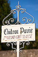 Chateau Pavie 1er Grand Cru Classe sign at St Emilion in the Bordeaux wine region of France