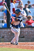 Johnson City Cardinals shortstop Ariel Montesino (17) swings at a pitch during a game against the Elizabethton Twins at Howard Johnson Field at Cardinal Park on June 26, 2016 in Johnson City, Tennessee. The Twins defeated the Cardinals 13-12. (Tony Farlow/Four Seam Images)