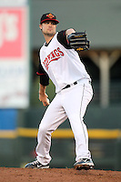 Rochester Red Wings starting pitcher Andy Baldwin delivers a pitch during a game against the Louisville Bats at Frontier Field on May 9, 2011 in Rochester, New York.  Rochester defeated Louisville by the score of 7-6 in a marathon 18 inning game.  Photo By Mike Janes/Four Seam Images