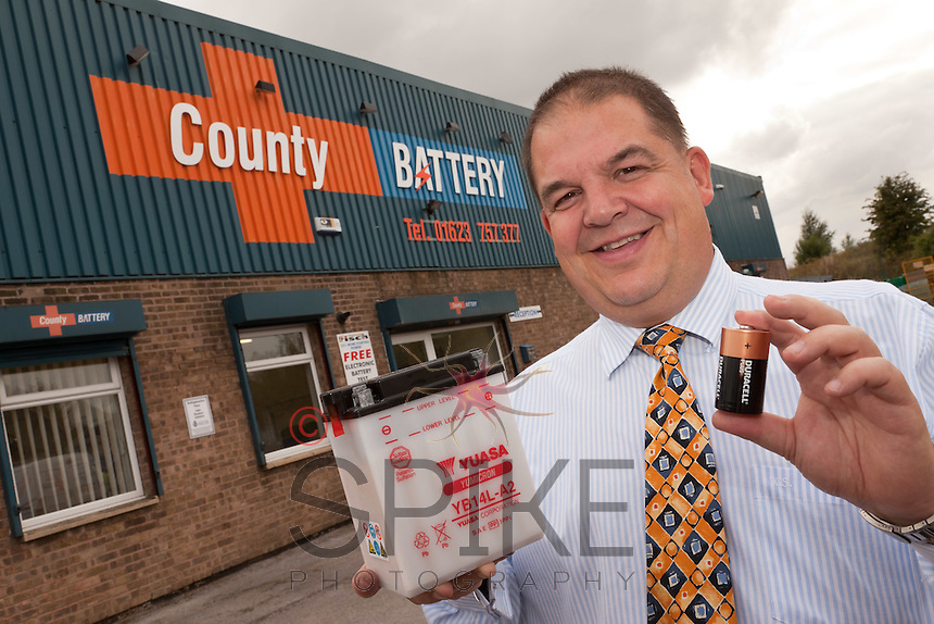 Richard Fuller, Managing Director of County Battery of Kirkby in Ashfield with just a couple of his thousands of battery products