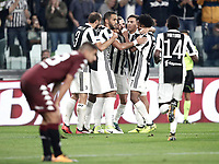 Calcio, Serie A: Torino, Allianz Stadium, 23 settembre 2017. <br /> Juventus' Alex Sandro celebrates after scoring with his teammates during the Italian Serie A football match between Juventus and Tori0i at Torino's Allianz Stadium, September 23, 2017.<br /> UPDATE IMAGES PRESS/Isabella Bonotto