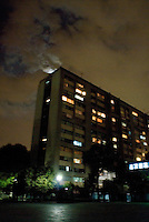 Tlatelolco housing project. Night bike riding in Mexico City with Kurt Holander, Luis Mdahuar and Mike Smith.  Mexico DF May 30, 2007