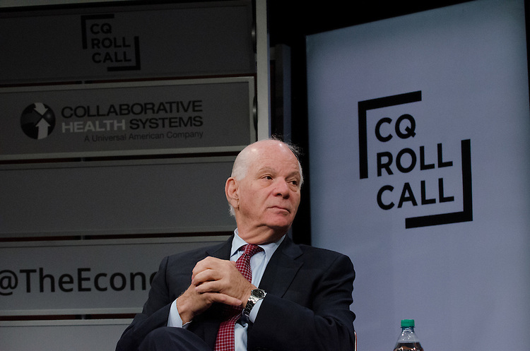 Senator Ben Cardin (D-Md.) takes questions from the audience during the CQ Roll Call and Collaborative Health Systems policy briefing on the perils and possibilities in coordinated care as envisioned by the Affordable Care Act at the Newseum in Washington, DC on Wednesday, July 8, 2015.  (James R. Brantley)