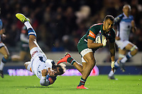Telusa Veainu of Leicester Tigers gets past Kylian Jaminet of Castres Olympique. European Rugby Champions Cup match, between Leicester Tigers and Castres Olympique on October 21, 2017 at Welford Road in Leicester, England. Photo by: Patrick Khachfe / JMP