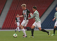 Blair Henderson shields the ball from Jackson Irvine in the Dunfermline Athletic v Celtic Scottish Football Association Youth Cup Final match played at Hampden Park, Glasgow on 1.5.13. ..