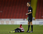 Kieron Freeman of Sheffield Utd injured during the English League One match at the Bramall Lane Stadium, Sheffield. Picture date: November 19th, 2016. Pic Simon Bellis/Sportimage