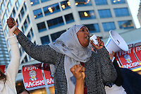 SEATTLE, WA - NOVEMBER 09: Asha Mohamed, from the Somali American Institute, addresses thousands on November 9, 2016 in Seattle. The rally was held in reaction to Donald Trump winning last night's US Presidential election. (Photo by Karen Ducey/Getty Images)
