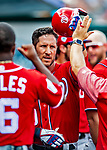 1 March 2019: Washington Nationals catcher Yan Gomes returns to the dugout after scoring in a Spring Training game against the Miami Marlins at Roger Dean Stadium in Jupiter, Florida. The Nationals defeated the Marlins 5-4 in Grapefruit League play. Mandatory Credit: Ed Wolfstein Photo *** RAW (NEF) Image File Available ***
