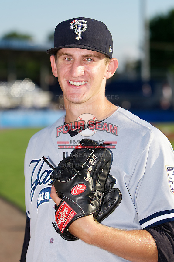 Staten Island Yankees pitcher Alex Smith #38 poses for a photo before a game against the Batavia Muckdogs at Dwyer Stadium on July 30, 2012 in Batavia, New York.  Batavia defeated Staten Island 5-4 in 11 innings.  (Mike Janes/Four Seam Images)