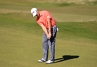 Tom Lewis (ENG) on the 7th green during Round 1 of the 2015 Alfred Dunhill Links Championship at Kingsbarns in Scotland on 1/10/15.<br /> Picture: Thos Caffrey | Golffile