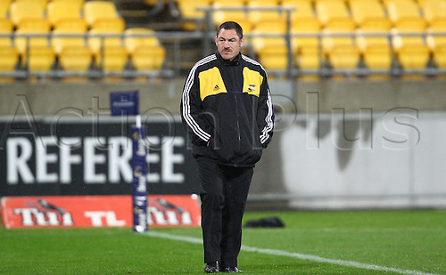 17.03.2013 Wellington, New Zealand. Hurricanes coach Mark Hammet during the 2013 Super Rugby season - Hurricanes v Chiefs, Westpac Stadium...