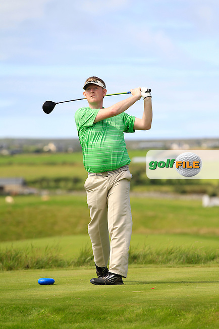 James McLaughlin (Portumna) on the 14th tee during Round 2 of The South of Ireland in Lahinch Golf Club on Sunday 27th July 2014.<br /> Picture:  Thos Caffrey / www.golffile.ie