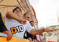 former Argentine football legend Diego Maradona attends as testimonial at offshore race in Naples<br /> Maradona testimonial del XCATRACING cara motonautica