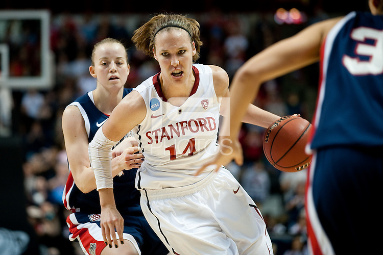 SPOKANE, WA - MARCH 28, 2011: Kayla Pedersen, Stanford Women's Basketball vs Gonzaga, NCAA West Regional Finals at the Spokane Arena on March 28, 2011.