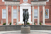 "The Thurgood Marshall Memorial in Annapolis, Maryland commemorates the ground-breaking lawyer, supreme court justice, and civil rights leader who fought for ""Equal justice under the law""."