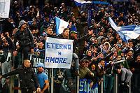 Tifosi Napoletani esultanto durante l'incontro di calcio di Serie A  Lazio Napoli   allo  Stadio Olimpico  di Romai , 2 Dicembre 2013<br /> Foto Ciro De Luca