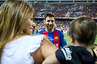 Leo Messi, Antonella Roccuzzo  and his son Thiago Messi during the match of  Copa del Rey (King's Cup) Final between Deportivo Alaves and FC Barcelona at Vicente Calderon Stadium in Madrid, May 27, 2017. Spain.. (ALTERPHOTOS/Rodrigo Jimenez) /NortePhoto.com