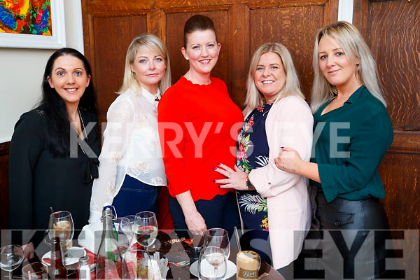 Michelle Roche, Lisa Somers, Aisling O'Callaghan, Karen Fenix and Audrey Wallace, enjoying a night out at The Denny Lane restaurant, Tralee on Friday night last.