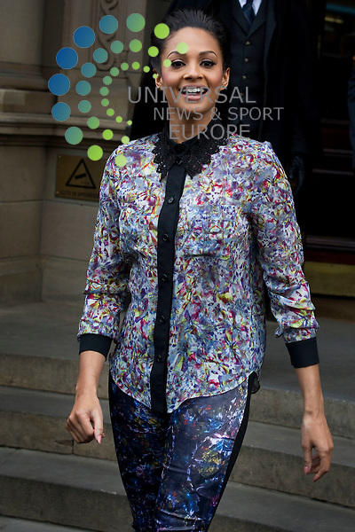 Britains Got Talent judges leaving the Balmoral Hotel and head for the Festival Theatre, Edinburgh, Scotalnd, 11th February, 2012 . Pictured Alesha Dixon.Picture:Scott Taylor Universal News And Sport (Europe) .All pictures must be credited to www.universalnewsandsport.com. (Office)0844 884 51 22.