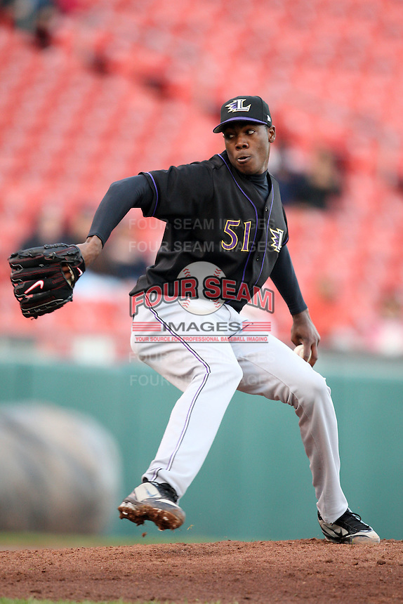 May 3, 2010:  Starting pitcher Aroldis Chapman (51) of the Louisville Bats delivers a pitch in the second inning during a game vs. the Buffalo Bisons at Coca-Cola Field in Buffalo, NY.   Louisville defeated Buffalo by the score of 20-7, Chapman got the win on the mound.  Photo By Mike Janes/Four Seam Images