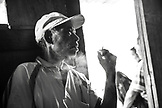 INDONESIA, Flores, Ngada district, portrait of village leader Anton Waru in Belaraghi village