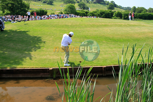 Graeme McDowell chips onto the 5th green after landing a ball in the water during the 2nd Day of The Celtic Manor Wales Open, 4th June 2010 (Photo by Eoin Clarke/GOLFFILE).
