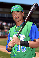 Lexington Legends designated hitter Samir Duenez (16) poses for a photo after a game against the Hagerstown Suns on May 19, 2014 at Whitaker Bank Ballpark in Lexington, Kentucky.  Lexington defeated Hagerstown 10-8.  (Mike Janes/Four Seam Images)