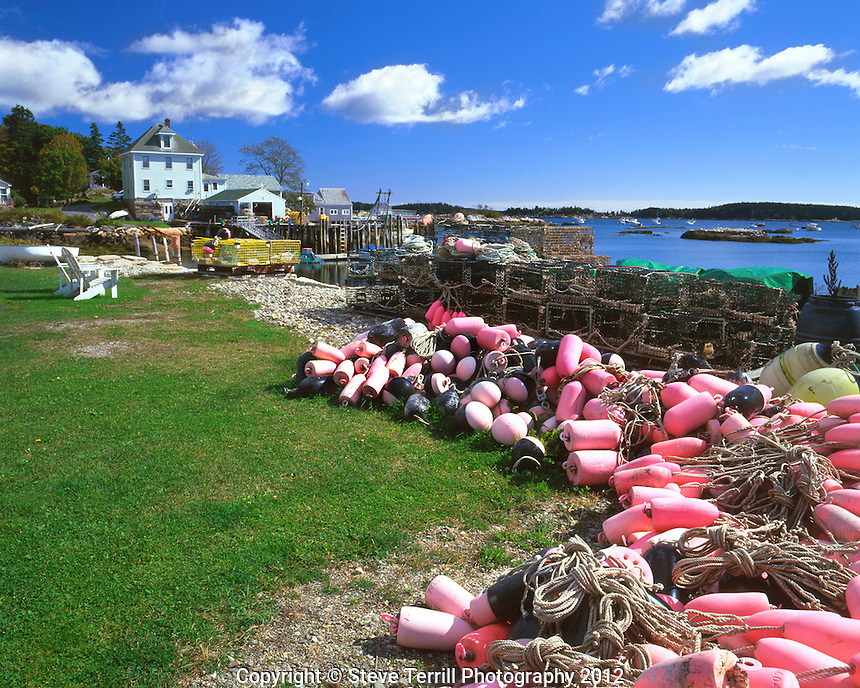 Pink fishing floats in Stonington, Maine